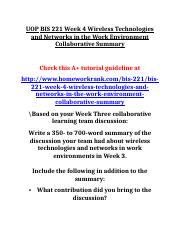 UOP BIS 221 Week 4 Wireless Technologies and Networks in the Work Environment Collaborative Summary.