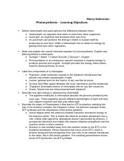 Photosynthesis Learning objectives