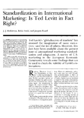 Standardization in International Marketing- Is Ted Levitt in Fact Right? j.j. Boddewyn, Robin Soehl,