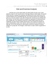 Dyron Washington SCI 241 week 2 Diet and Exercise Analysis