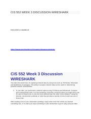 CIS 552 WEEK 3 DISCUSSION WIRESHARK.docx