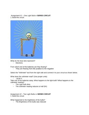 Assignment #1 – One Light Bulb in SERIES CIRCUIT