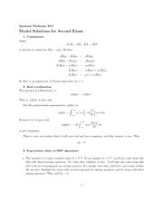 Second Exam Model Solutions