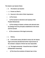 The Islamic Law System Notes