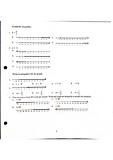 Algebra Pre-AP Quiz# 4 Multiple Choice + Answer Key on Graphing Inequalities