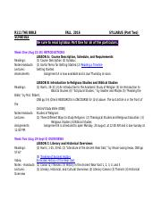 Syllabus-Part Two-SCHEDULE
