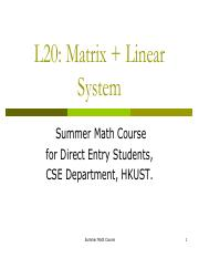 21.More on Matrix and basic Linear System