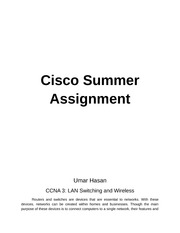 Cisco Summer Assignment Router Vs. Switch