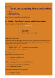 4.1 Auxiliary Data, Ratio Estimator and its Computation   STAT 506 - Sampling Theory and Methods