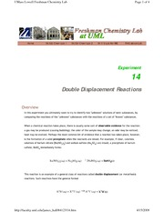 Exp 14 - Double Displacement Reactions