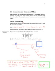 6.6 Moments and Centers of Mass