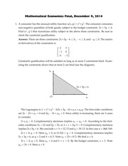 Exam 3 Solution 2014 on Mathematical Methods of Economic Analysis