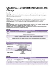 Study Guide - Chapter 11 - Organizational Control and Change