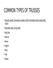 COMMON TYPES OF TRUSSES