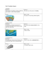 Unit 3 Vocabulary Squares