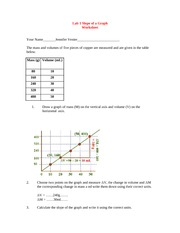 Lab 1 Slope of a Graph Worksheet
