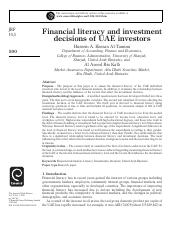 White Paper - Financial Literacy and Investment Decisions of UAE Investors
