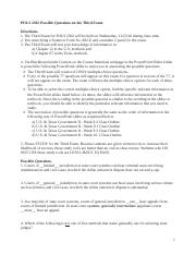 POLS 2302 Possible Questions on the Third Exam.doc