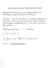 Appls. of Sequences and Series