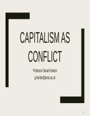 Lecture One Capitalism as Conflict