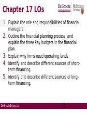 Week 11 Chapter 17; Financial Management