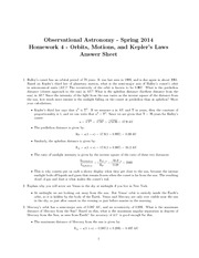 Orbits, Motions, and Kepler's Laws Answer Sheet
