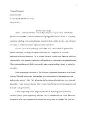 Genetically Modified Foods Essay - Tommia Thompson