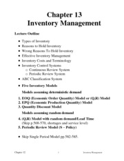 Chapter 13-Inventory notes Operation Management