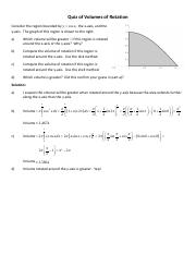 Quiz of Volumes of Rotation - Solution