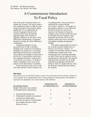Intro to Fiscal Policy HW