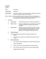 seatbelts tyler deford persuasive outline topic audience  4 pages smoking speech outline