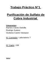Tp N 1 Purificación Del Sulfato De Cobre Industrial Docx