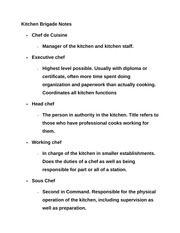 4 pages kitchen brigade notes - Kitchen Brigade