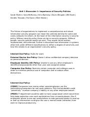 Unit 1 Discussion 1 - Importance of Security Policies - DONE-