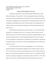History of Boston Bruins Timeline Paper