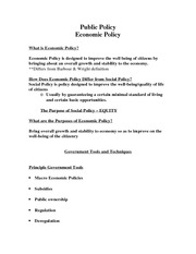 Public Policy - Economic Policy Notes