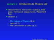 PHY 101 Lecture 1