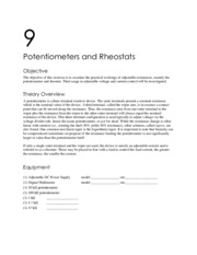 Potentiometers and Rheostats