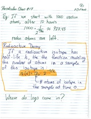 MATH 1110 Fall 2013 Radioactive Decay with Logarithms Lecture Notes