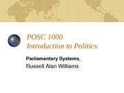 POSC 1000 Formal Institutions - Parliamentary Systems