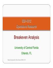 Lecture 2 breakeven analysis