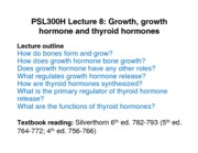 Lecture 8 - September 27 - Growth Hormones