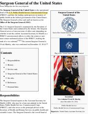 Surgeon General of the United States - Wikipedia, the free encyclopedia