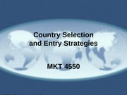02 - Country Selection and Entry