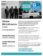 Monash SEED presents the 2016 Global Microfinance Case Competition