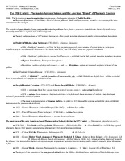 History of Pharmacy - Class Outline - April 22, 2011