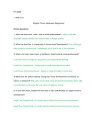 Chapter 3 Application Assignment -Moral Development