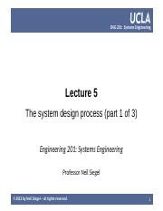 UCLA ENG 201 course  -- lecture 05 -- the system design, 1 of 3 -- Siegel