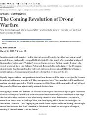 Amy Zegart: The Coming Revolution of Drone Warfare - WSJ.pdf