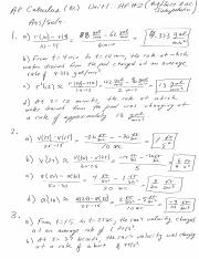 Calc Unit 1 HF 2 answers and solutions